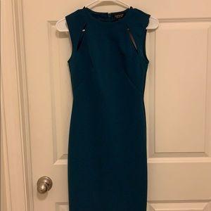 Topshop midi blue body con dress